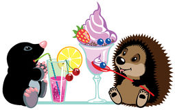 Mole and hedgehog eating desserts. Cartoon mole and hedgehog eating sweet desserts, isolated image for little kids royalty free illustration