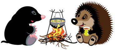 Mole and hedgehog near campfire vector illustration