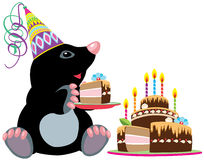 Mole holding a piece of cake. Cartoon mole holding a piece of birthday cake, isolated image for little kids Stock Photo