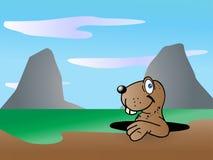 Mole in a hole. Cartoon mole illustration on nature background Stock Photo