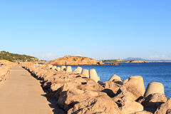 Mole and Mediterranean Sea at harbour Puerto Portals in Portals Nous on Majorca. Spain Royalty Free Stock Photography