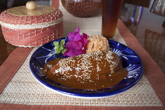 Mole, mexican dish from Puebla. Chiquen Mole, mexican dish from Puebla, with rice served in talavera plate stock images