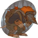 Mole. Miner with orange helmet, drill mask and explosive in the cave Stock Image