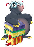Mole mit Büchern. Stockfotos