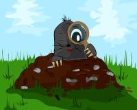 Mole mit einer Lupe auf Maulwurfshügel Lizenzfreie Stockfotografie