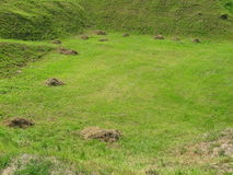 Mole mound in the field. The mole mound in the green field royalty free stock photos