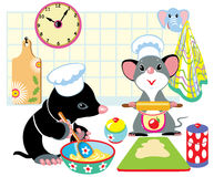 Mole and mouse preparing dough. Cartoon mole and mouse with chef hats preparing the dough, children illustration Royalty Free Stock Photos