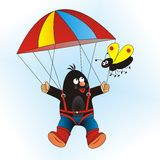Mole and the parachute Royalty Free Stock Images