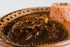Mole Poblano with Chicken is Mexican Food in Puebla Mexico. Comida mexicana royalty free stock images