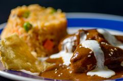Mole poblano with chicken, Mexico traditional food. Chicken with mole Poblano sauce and Mexican rice, traditional specialty of Oaxaca and Puebla. Food stock photos