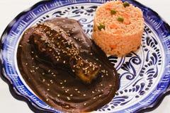 Mole Poblano with Chicken and rice is Mexican Food in Puebla Mexico. Comida mexicana stock image