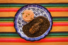Mole Poblano with Chicken and rice is Mexican Food in Puebla Mexico. Comida mexicana stock photography