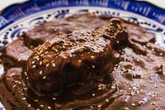 Mole Poblano mit Huhn ist mexikanisches Lebensmittel in Puebla Mexiko stockbild