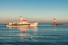Mole and ship in Warnemuende Stock Images