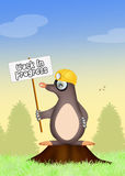 Mole with sign work in progress Stock Image