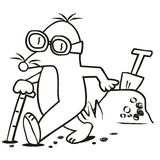 Mole and stick for the blind-coloring book. Mole with glasses and a white stick a molehill with a spade. Coloring book for kids Royalty Free Stock Photography