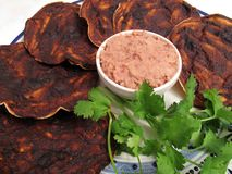 Mole Tortilla Chips and Refried Bean Dip Royalty Free Stock Images