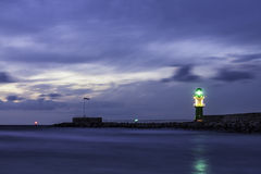Mole in Warnemuende at night Stock Photography