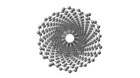 Molecola del nanotube del carbonio che gira sul bianco royalty illustrazione gratis