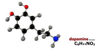 Molecola del neurotrasmettitore della dopamina Immagini Stock