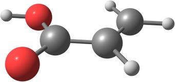 Molecola dell'acido acrilico isolata su bianco Immagine Stock