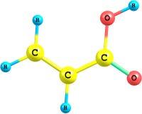 Molecola dell'acido acrilico isolata su bianco illustrazione di stock