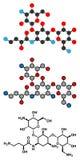 Molecola dell'antibiotico dell'aminoglicoside dell'amikacina Principalmente usato come l'ultima volta royalty illustrazione gratis