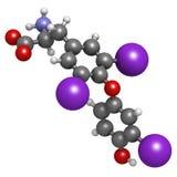 Molecola dell'ormone della triiodotironina (T3, liothyronine), prodotto chimico s Immagini Stock