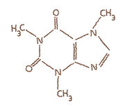 Molecola della caffeina fatta dai chicchi di caffè Immagini Stock