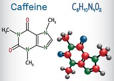 Molecola della caffeina Modo strutturale della molecola e di formula chimica illustrazione vettoriale