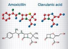 Molecola della droga dell'acido clavulanico e dell'amoxicillina La combinazione è un antibiotico utile per il trattamento delle i illustrazione di stock