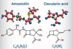 Molecola della droga dell'acido clavulanico e dell'amoxicillina La combinazione è un antibiotico utile per il trattamento di una  illustrazione vettoriale
