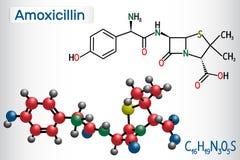 Molecola della droga dell'amoxicillina È antibiotico beta-lattamico Modello strutturale della molecola e di formula chimica royalty illustrazione gratis