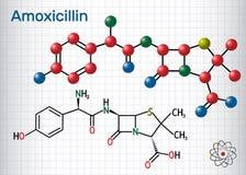 Molecola della droga dell'amoxicillina È antibiotico beta-lattamico Modello strutturale della molecola e di formula chimica Fogli royalty illustrazione gratis