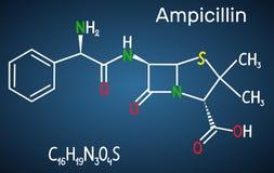 Molecola della droga dell'ampicillina È antibiotico beta-lattamico Formula chimica strutturale sui precedenti blu scuro illustrazione di stock