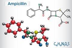 Molecola della droga dell'ampicillina È antibiotico beta-lattamico Modello strutturale della molecola e di formula chimica illustrazione di stock
