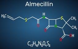 Molecola della droga della penicillina O di Almecillin È antibiotico beta-lattamico Formula chimica strutturale sui precedenti bl illustrazione di stock