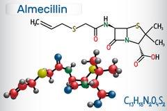 Molecola della droga della penicillina O di Almecillin È antibiotico beta-lattamico Modello strutturale della molecola e di formu royalty illustrazione gratis