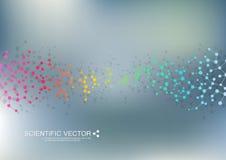 Molecola della struttura di DNA e dei neuroni Atomo strutturale composti chimici Medicina, scienza, concetto di tecnologia royalty illustrazione gratis
