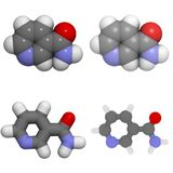 Molecola della vitamina B3 (niacina, niacinamide) Immagine Stock Libera da Diritti
