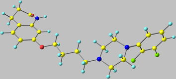 Molecola di aripiprazolo isolata su grey illustrazione di stock