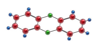Molecola di diossina Fotografie Stock