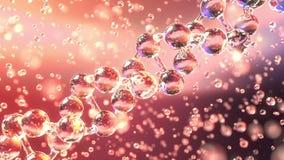 Molecola diagonale di filatura del DNA e goccioline trasparenti video d archivio