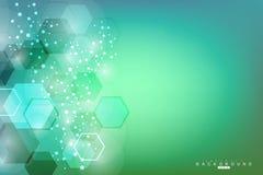 Molecola e comunicazione della struttura DNA, atomo, neuroni Struttura poligonale astratta con i punti e le linee di collegamento royalty illustrazione gratis