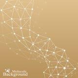 Molecola grafica dorata e comunicazione del fondo DNA della struttura, neuroni, atomo Linee collegate con i punti medicina Fotografie Stock Libere da Diritti
