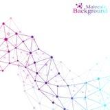 Molecola grafica e comunicazione del fondo Punti variopinti con i collegamenti per la vostra progettazione Illustrazione di vetto Immagini Stock