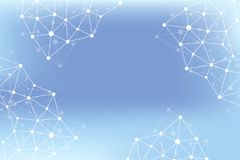 Molecola grafica geometrica e comunicazione del fondo Grande complesso di dati con i composti Allinea il plesso, matrice minima Fotografia Stock