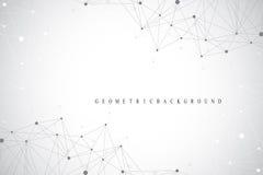 Molecola grafica geometrica e comunicazione del fondo Grande complesso di dati con i composti Allinea il plesso, matrice minima illustrazione di stock