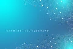 Molecola grafica geometrica e comunicazione del fondo Grande complesso di dati con i composti Contesto di prospettiva minimo Fotografia Stock