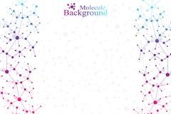 Molecola grafica variopinta e comunicazione del fondo Linee collegate con i punti Medicina, scienza, progettazione di tecnologia Fotografie Stock